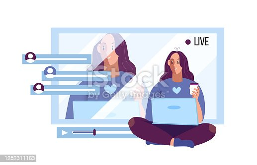 Vector flat illustration with young female blogger streaming online. Social media banner with screen, subscribers' comments