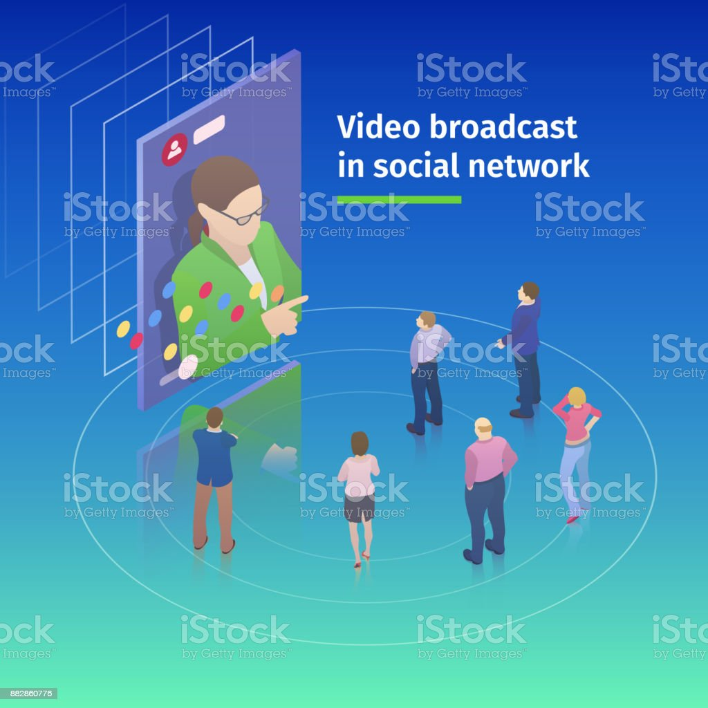 Video broadcast in social network. Flat 3d isometric design concept. People watch a video broadcast on the screen. vector art illustration