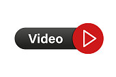 Video button. Red play icon button. Isolated vector illustration. Arrow click icon. Web button. EPS 10