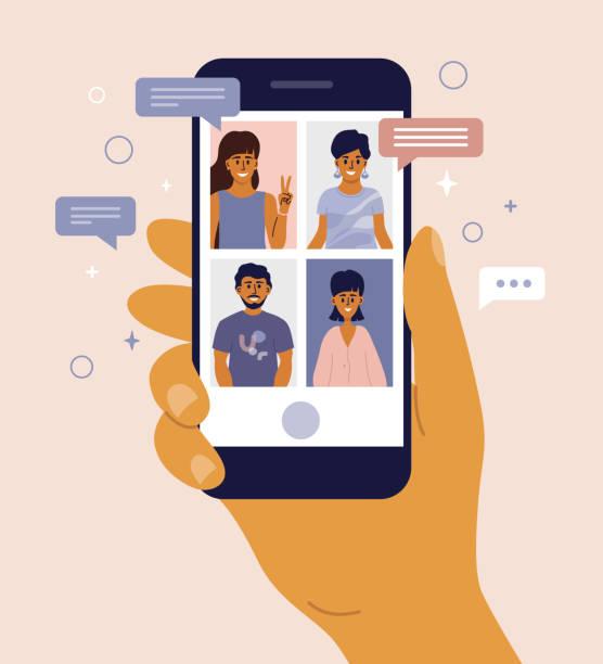 videoanruf und online-chat zwischen freunden per handy-smartphone - smartphone mit corona app stock-grafiken, -clipart, -cartoons und -symbole