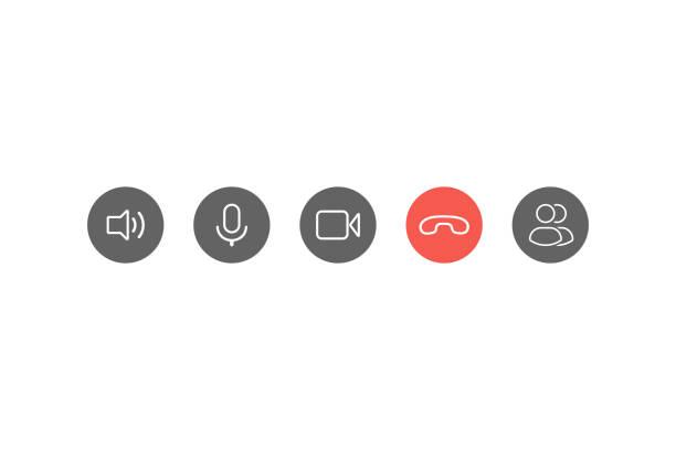 illustrazioni stock, clip art, cartoni animati e icone di tendenza di set di icone dei pulsanti di videochiamata. vettore eps10 - video call