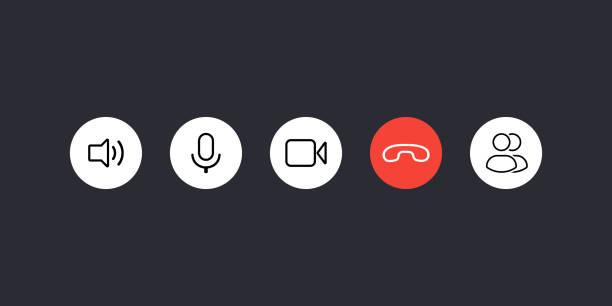illustrazioni stock, clip art, cartoni animati e icone di tendenza di video call button icon set - video call
