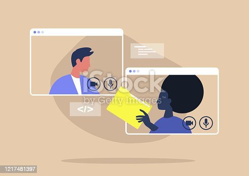 istock Video call conference, working from home, social distancing, business discussion, colleagues sharing materials 1217481397