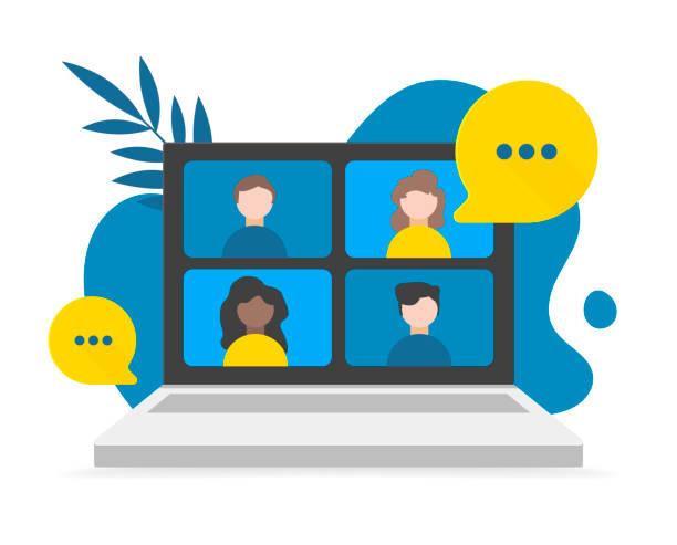 illustrazioni stock, clip art, cartoni animati e icone di tendenza di videoconferenza, lavoro da casa, distanziamento sociale, discussione aziendale sullo schermo del laptop. illustrazioni piatte vettoriali. - video call