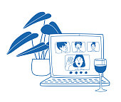 istock Video call friends, wine glass and plant next to laptop 1215727781