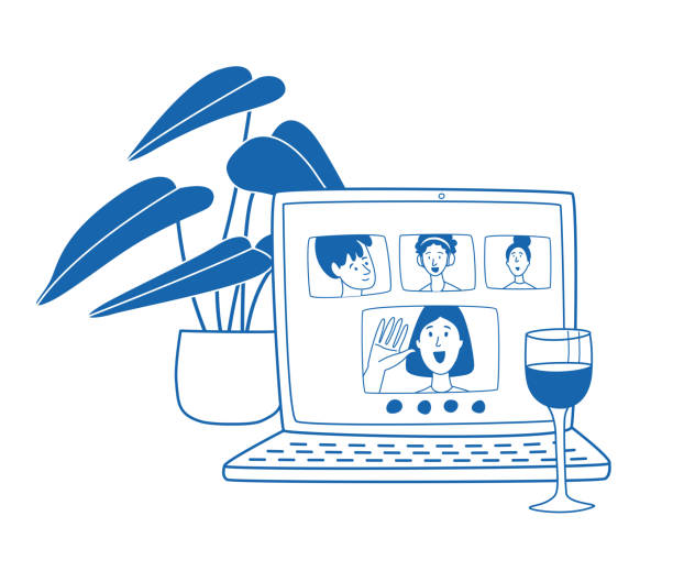 stockillustraties, clipart, cartoons en iconen met video gesprek vrienden, wijnglas en plant naast laptop - lockdown