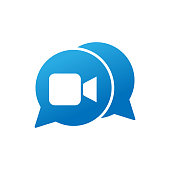 Video Call Icon Logo Vector Illustration. Video Call icon design vector template. Trendy Video Call vector icon flat design for website, symbol, logo, icon, sign, app, UI.