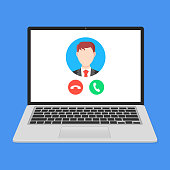 Video call. Incoming call on laptop screen. VoIP technology concepts. Modern flat design. Vector illustration
