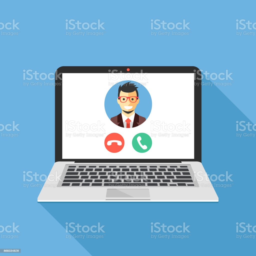 Video call on laptop screen. Laptop with incoming call, man profile picture and accept decline buttons. Modern flat design vector illustration vector art illustration