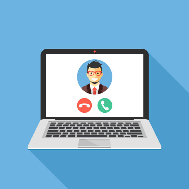 video call on laptop screen. laptop with incoming call, man profile picture and accept decline buttons. modern flat design vector illustration - virtual meeting stock illustrations