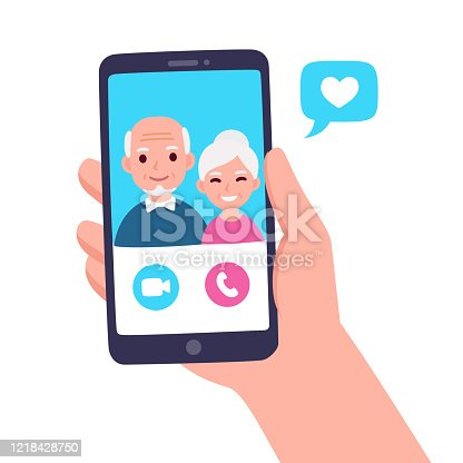 Video call with grandparents or aging parents. Hand holding smartphone with elderly couple on screen. Simple and cute flat cartoon vector illustration.