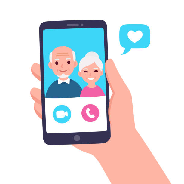 Video call with grandparents vector art illustration
