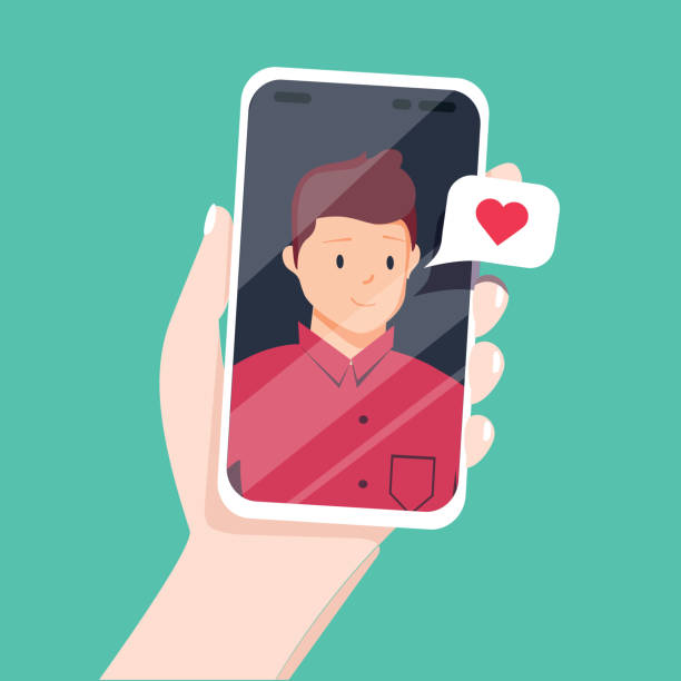 Video call with loved one. Female hand holding smartphone with boyfriend on screen. Online dating, long distance relationship Video call with loved one. Female hand holding smartphone with boyfriend on screen. Online dating, long distance relationship concept. Flat cartoon vector illustration. Couple talking in messenger girlfriend stock illustrations