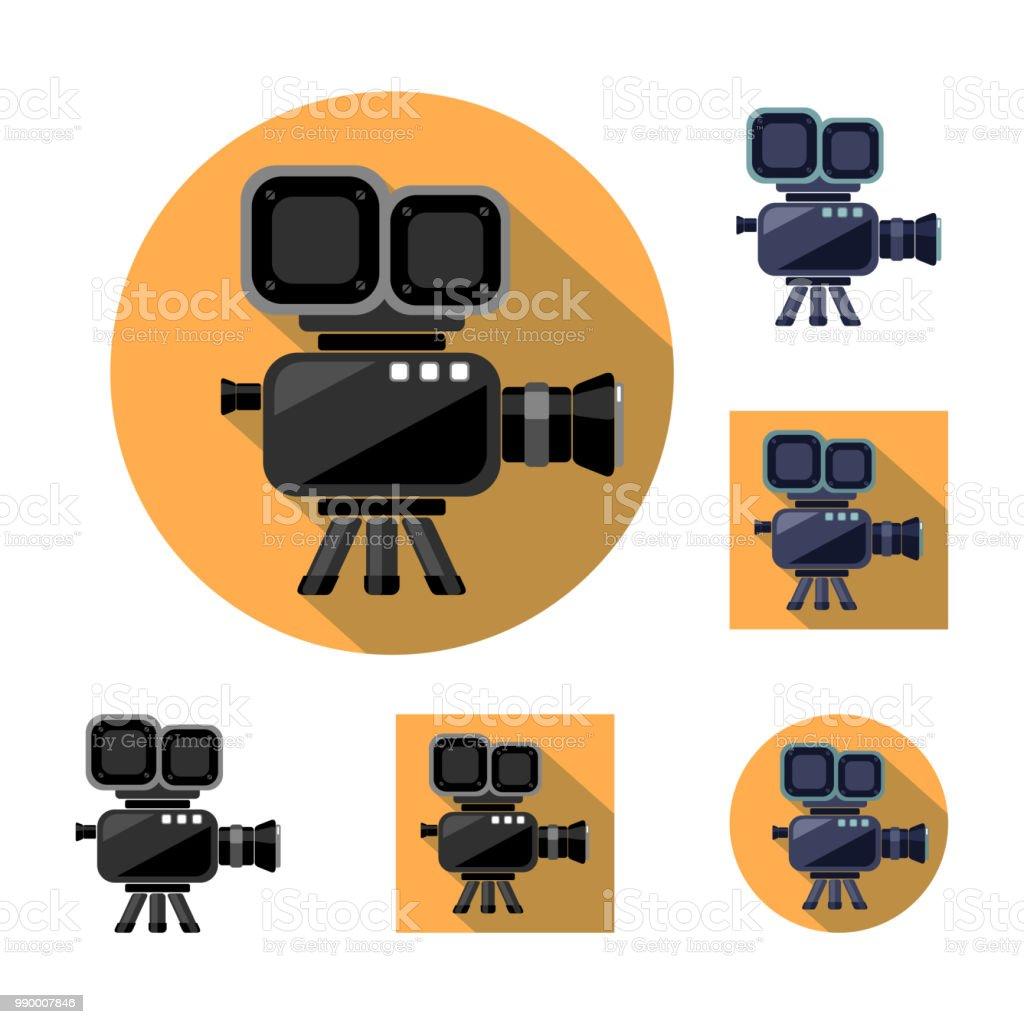 Video camera cinema icon logo stock vector art more for Camera film logo