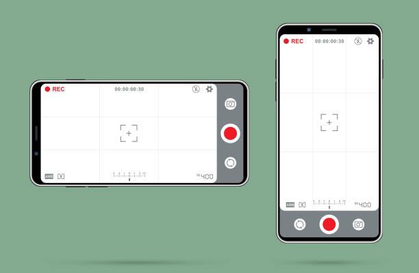 Video camera focusing screen design vector art illustration