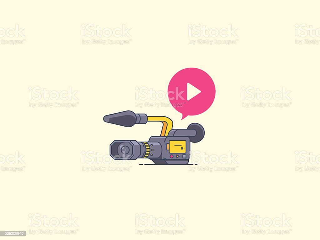 Video camera icon. Recording and playback. vector art illustration
