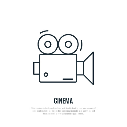 Video Camera Line Icon Vector Emblem For Cinema Industry