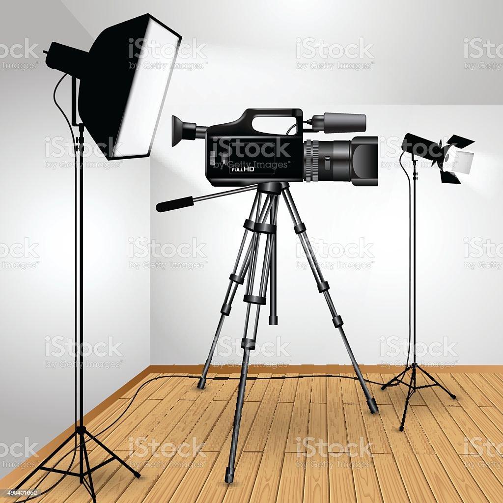Video camera on tripod vector art illustration