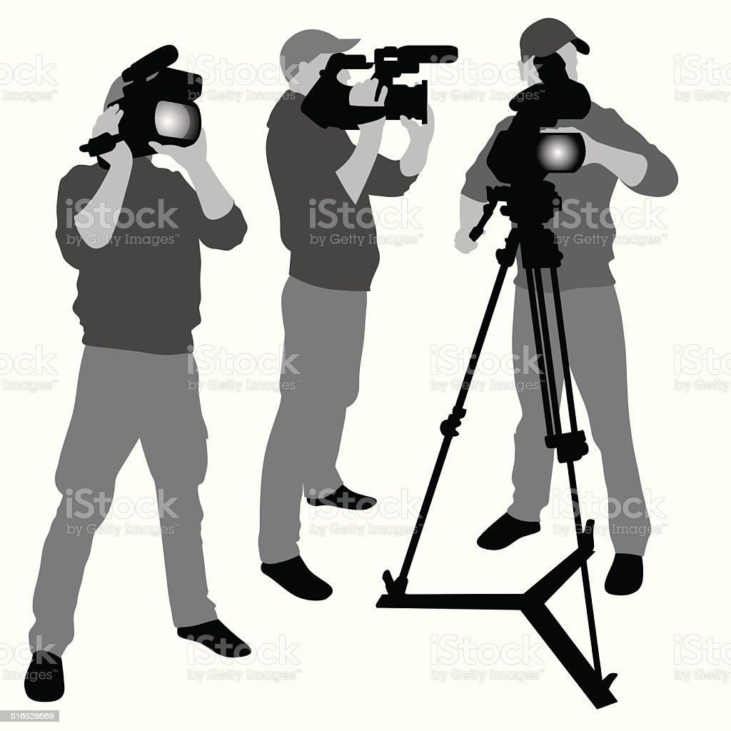Video camera operator vector art illustration