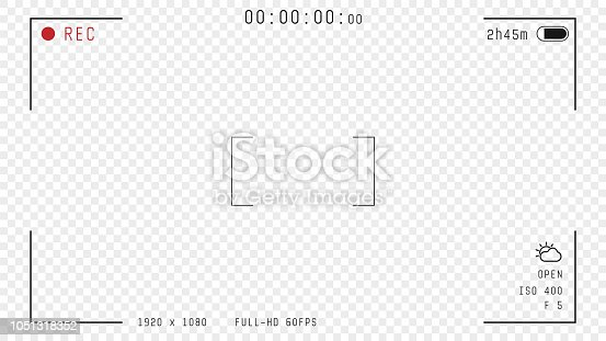 Video camera viewfinder overlay. 16:9 full hd format of frame with 60 fps template. Camera frame vector template. Black lines and text, rec icon with information and timing on transparent background.
