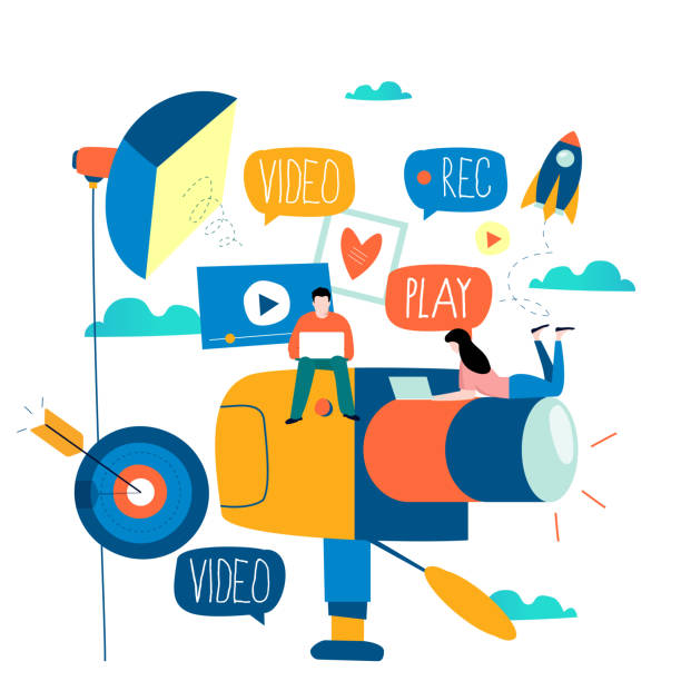 Video camera production, filming video footage vector art illustration