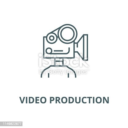 Video camera production vector line icon, outline concept, linear sign