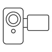 Video camera thin line icon. Movie camera vector illustration isolated on white. Media technology outline style design, designed for web and app. Eps 10