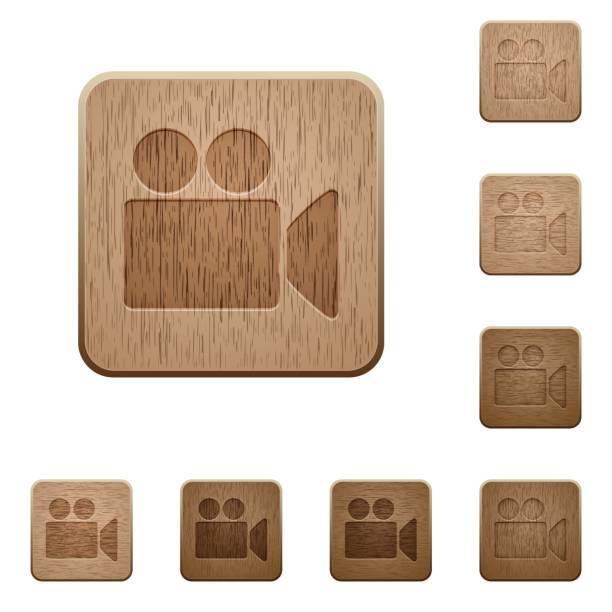 illustrations, cliparts, dessins animés et icônes de caméra vidéo de boutons en bois - camera sculpture