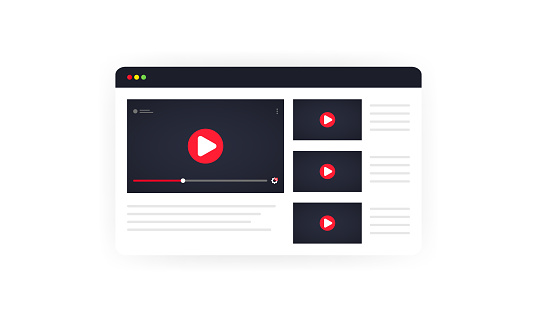 Video channel illustration. Watching vlog, webinars, lecture, video tutorial, lesson or training online. Vector on isolated white background. EPS 10.