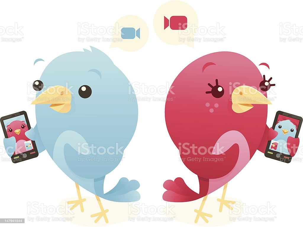 Video Chat Birds vector art illustration