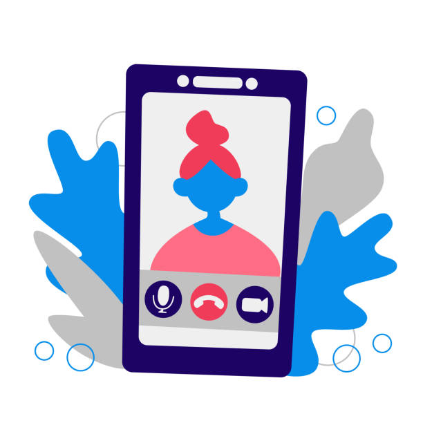 illustrazioni stock, clip art, cartoni animati e icone di tendenza di video chat, chiama online su smartphone. illustrazione vettoriale piatta stock con volto persona femminile. app di videochiamata, donna sullo schermo dello smartphone. concetto: conferenza, lavoro online remoto, studio su internet, web - woman chat video mobile phone