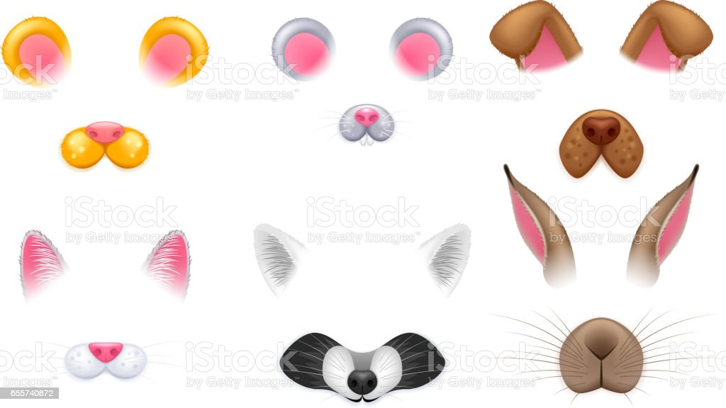 Video chat effects animal faces set vector art illustration