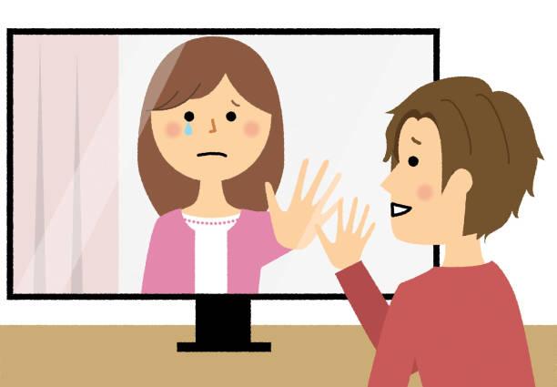 ビデオチャット, ビデオフォン, リモートデート - テレビ会議 日本人点のイラスト素材/クリップアート素材/マンガ素材/アイコン素材