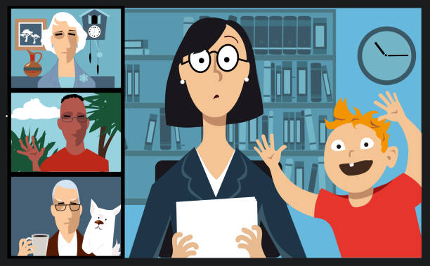 Video chat with coworkers from home People videoconferencing with coworkers who are staying home practicing social distancing, EPS 8 vector illustration zoom stock illustrations