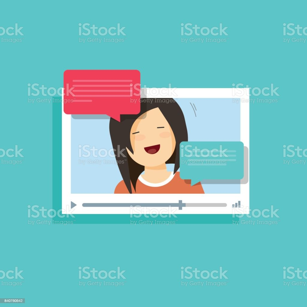 Video chatting online vector illustration, flat cartoon video player window with speaking happy girl, bubble speeches messages, concept of on-line video chat app, internet talk, call technology vector art illustration