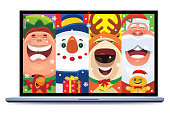 vector illustration of video chatting with Christmas friends via laptop