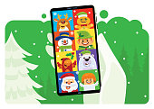 istock video chatting with Christmas friends via smartphone 1269281244