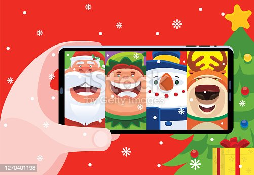 video chatting with Santa Claus and friends