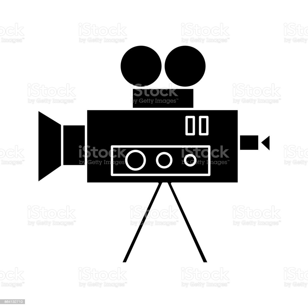 video cinema camera vintage  icon, vector illustration, sign on isolated background royalty-free video cinema camera vintage icon vector illustration sign on isolated background stock vector art & more images of analog