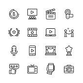 16 Video, Cinema, Film Outline Icons.