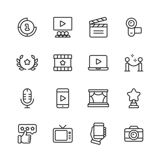 video, cinema, film line icons. editable stroke. pixel perfect. for mobile and web. contains such icons as video player, film, camera, cinema, 3d glasses, virtual reality, television, theatre, celebrity. - movies stock illustrations