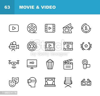 20 Video, Cinema, Film Outline Icons.
