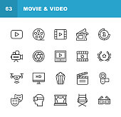 20 Video, Cinema, Film Outline Icons.