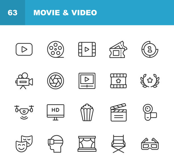 ilustrações de stock, clip art, desenhos animados e ícones de video, cinema, film line icons. editable stroke. pixel perfect. for mobile and web. contains such icons as video player, film, camera, cinema, 3d glasses, virtual reality, theatre, tickets, drone, directing, television. - film