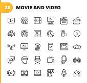 30 Video, Cinema, Film Outline Icons.