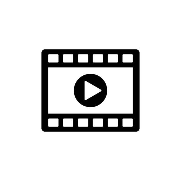 video-clip player-symbol. schwarz, minimalistischen symbol isoliert auf weißem hintergrund. - film stock-grafiken, -clipart, -cartoons und -symbole