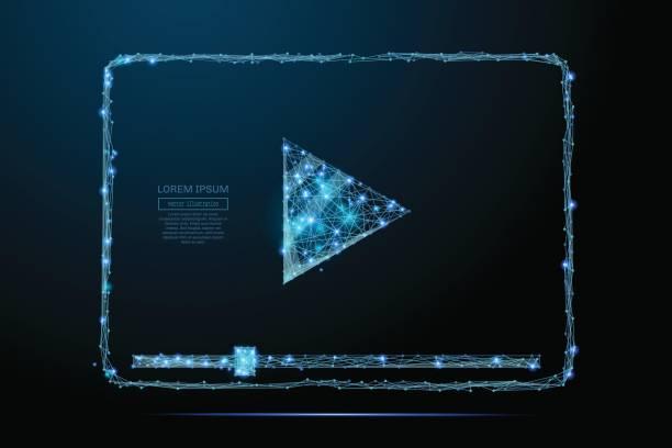 Video-Codec-low-Poly blau – Vektorgrafik