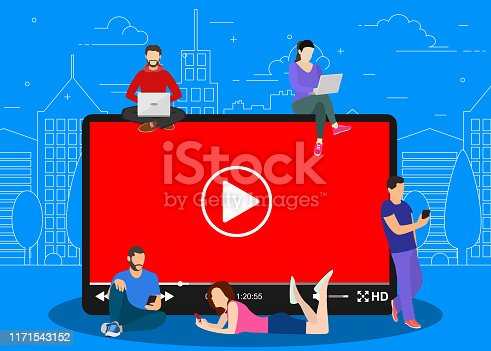 Video concept. people using mobile gadgets, tablet pc and smartphone for live watching a video via internet. Vector illustration in flat style