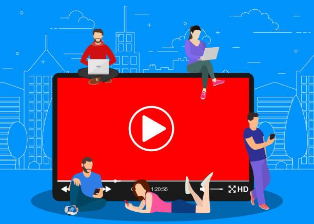 ilustrações, clipart, desenhos animados e ícones de conceito video. pessoas que usam gadgets móveis, - live