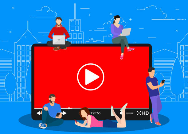 ilustrações de stock, clip art, desenhos animados e ícones de video concept. people using mobile gadgets, - watch